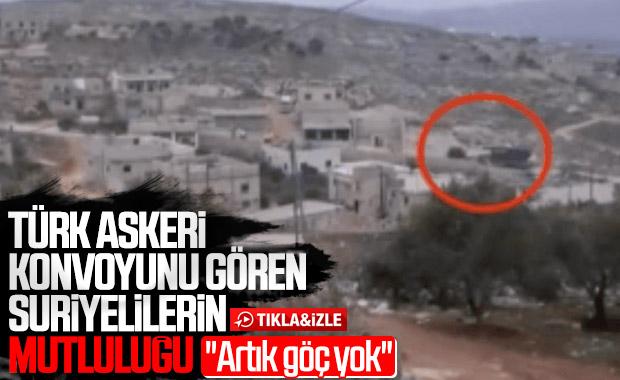 Türk konvoyunu gören Suriyelilerin sevinci