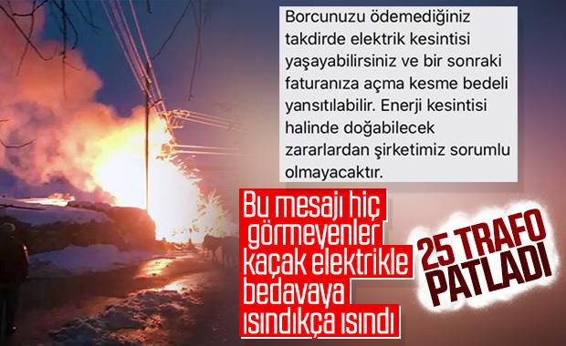 Kaçak elektrik kullananlar 25 trafo ile 12 pano yaktı