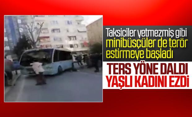 Kadıköy'de güzergah dışına çıkan minibüs kadına çarptı