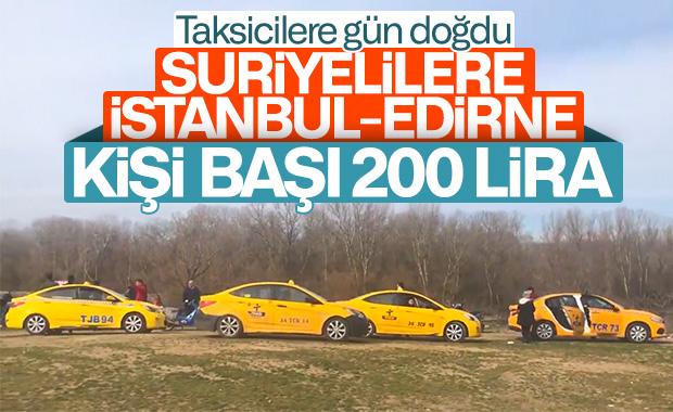 Mülteciler Edirne'ye taksiyle gidiyor