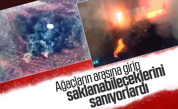 Kamufle olmaya çalışan rejim tankı vuruldu