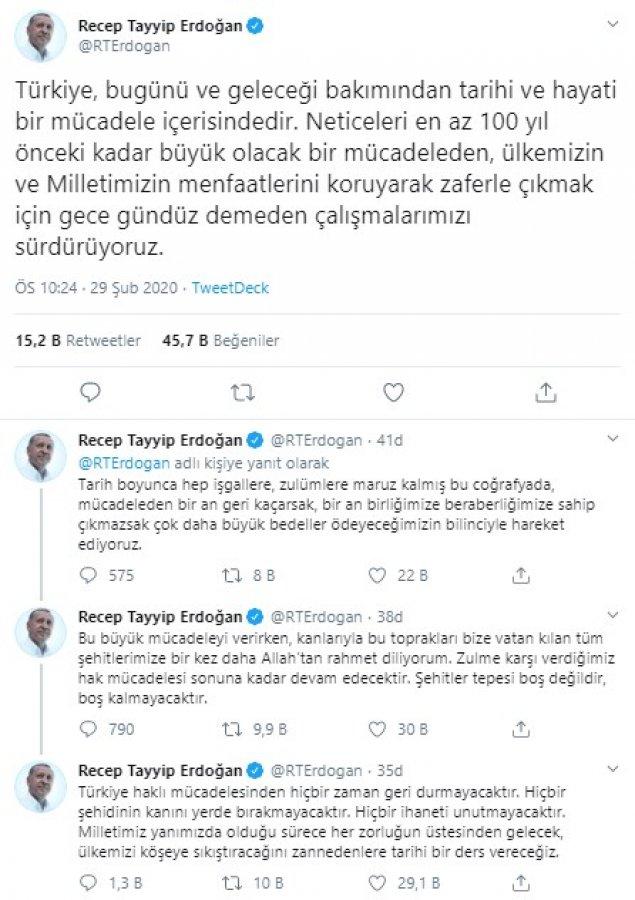 Erdoğan şehitlerimize ilişkin açıklama yaptı
