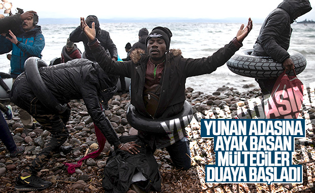 Midilli Adası'na ulaşan mültecilerin mutluluğu