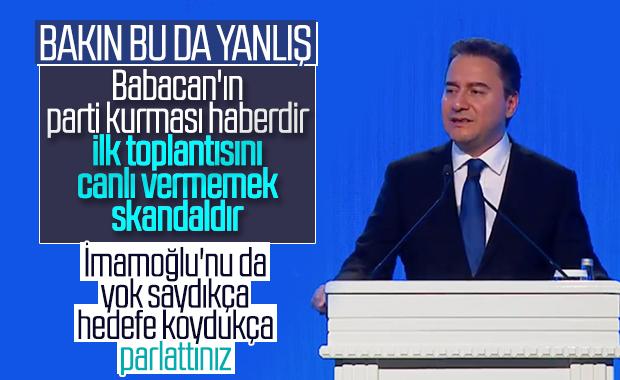 Haber kanalları Ali Babacan'ın konuşmasını yayınlamadı