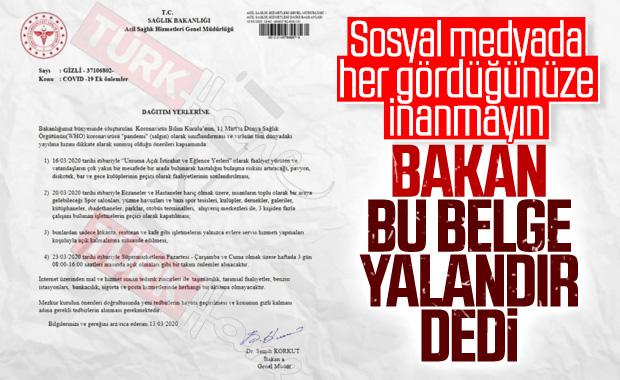 Sağlık Bakanı Koca'dan sahte belge açıklaması