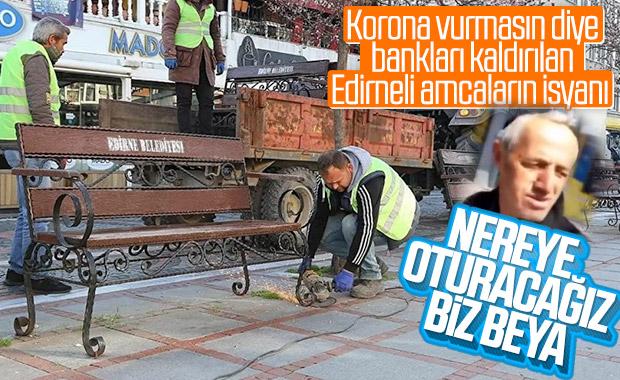 Edirne'de meydanlardaki bankların toplanmasına tepki