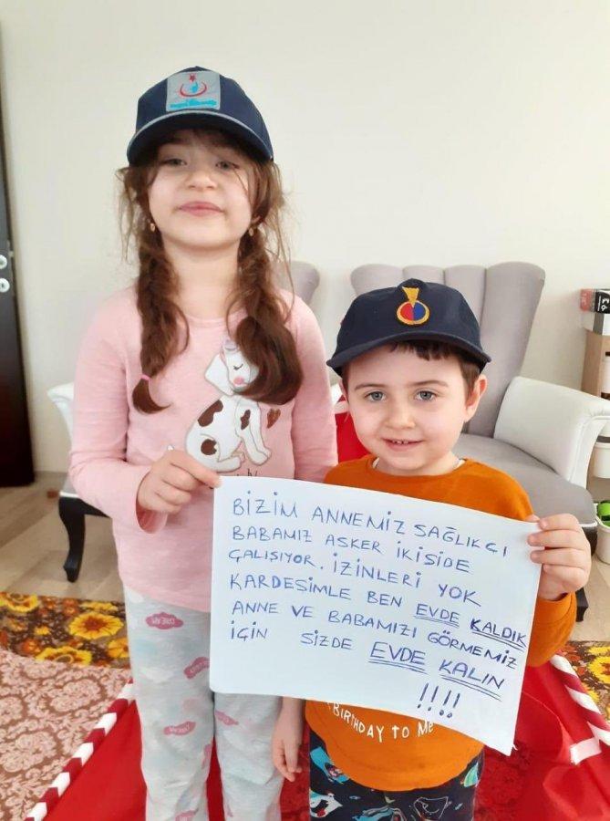 Samsun'da yaşayan iki kardeşten evde kalın mesajı