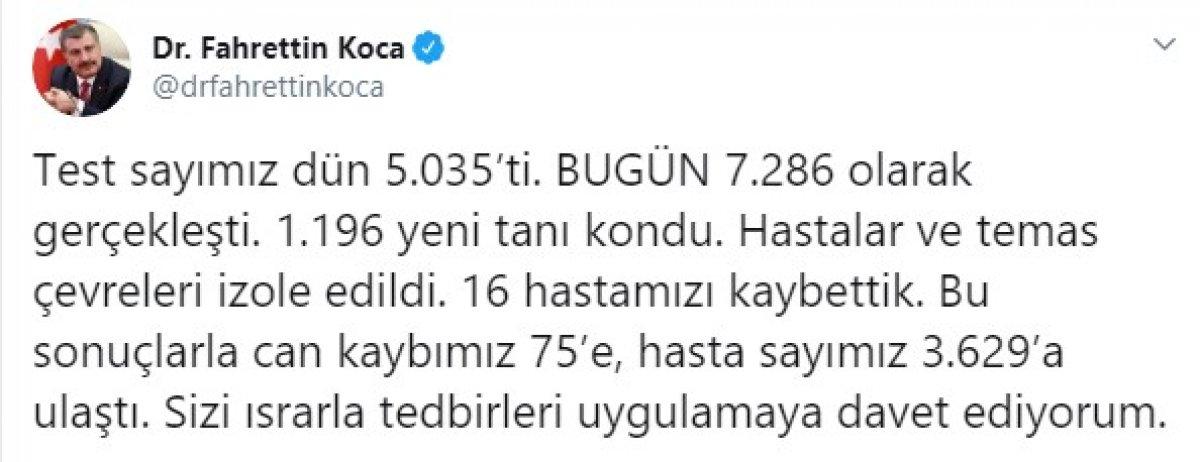 Türkiye'de koronadan ölenlerin sayısı 75'e çıktı