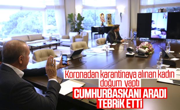 Erdoğan, karantinada doğum yapan Sevda Gül'ü tebrik etti