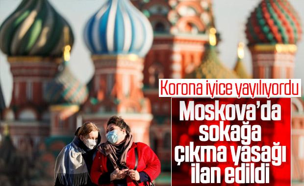 Moskova'da koronavirüs nedeniyle sokağa çıkma yasağı