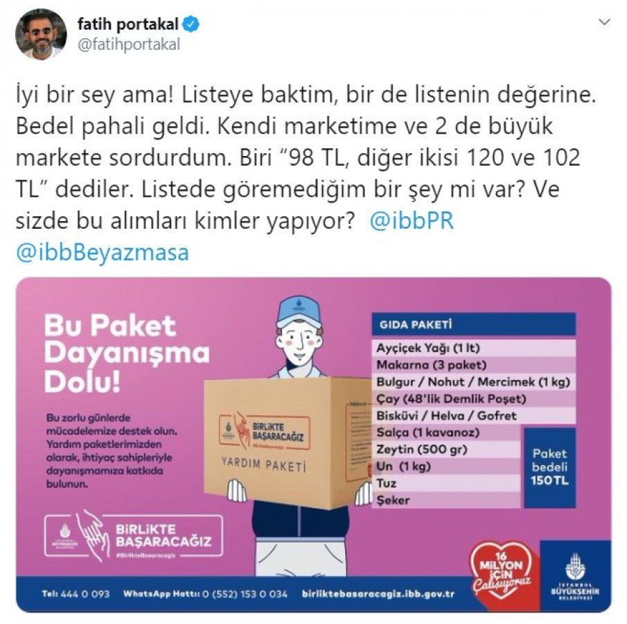 Portakal'dan İBB'nin yardım paketine eleştiri