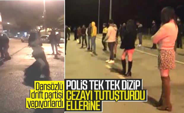 Antalya'da dansözlü drift partisini polis bastı