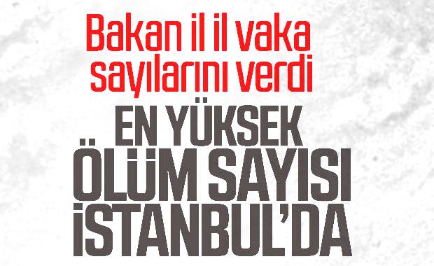 Türkiye'de illere göre vaka ve ölü sayısı dağılımı