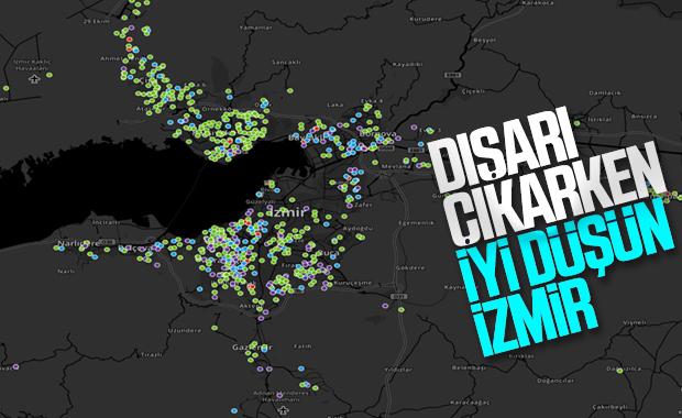 İzmir'de koronanın yayılımını gösteren harita