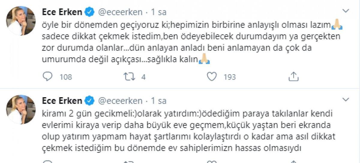 Ece Erken, ev sahibi ile yazışmasını paylaştı