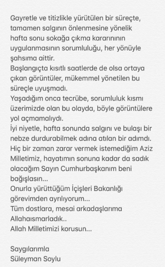 Süleyman Soylu istifa etti