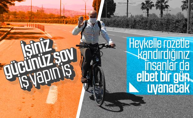 Tunç Soyer hastaneye bisikletle gitti