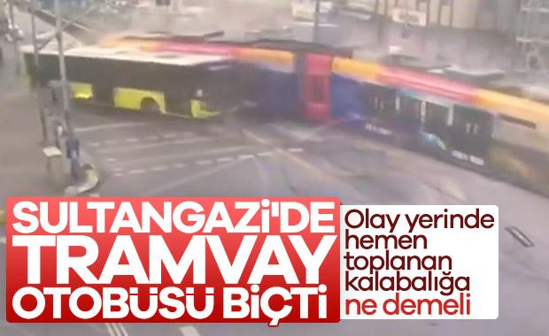 Sultangazi'de otobüse çarpan tramvay, raydan çıktı