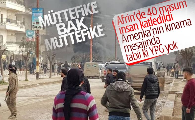 ABD, Afrin'deki terör saldırısında YPG diyemedi