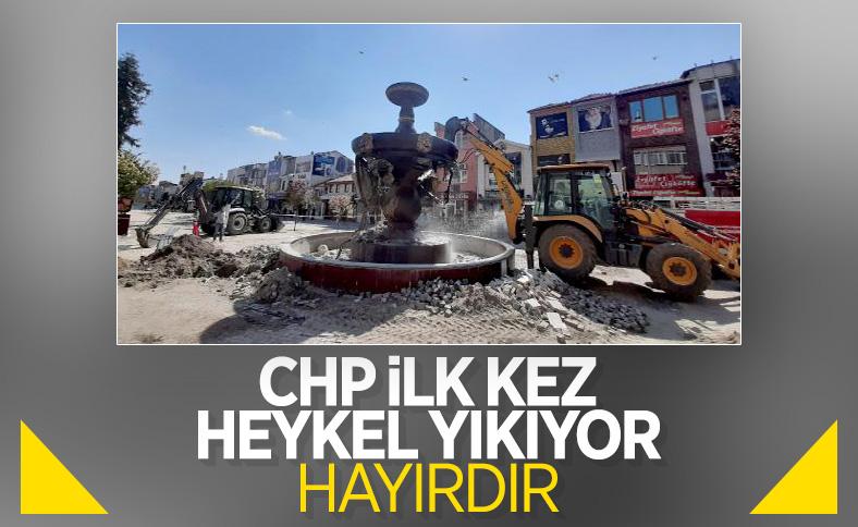 Edirne'de CHP'li belediye heykel yıktı