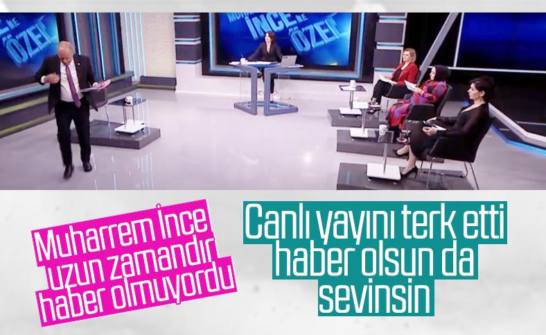 Muharrem İnce, Erdoğan çıkınca canlı yayını terk etti