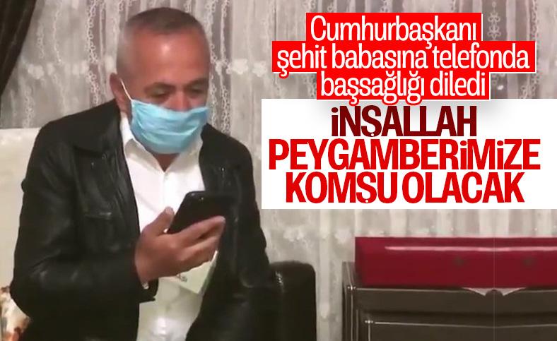 Erdoğan, İdlib şehidinin babasına başsağlığı diledi