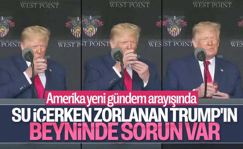Trump su içerken zorlandı