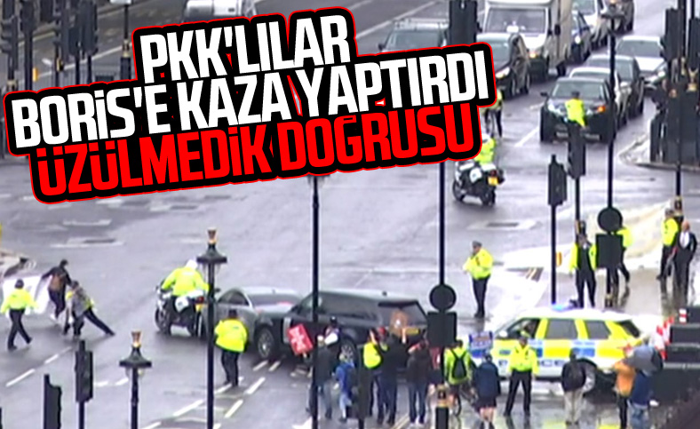 PKK'lıların protestosu Johnson'a kaza yaptırdı
