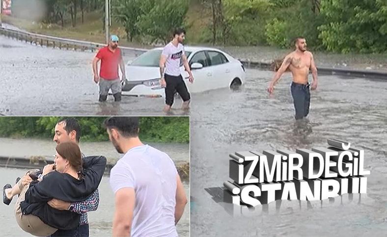 İstanbul'da yağmur sonrası yollar göle döndü