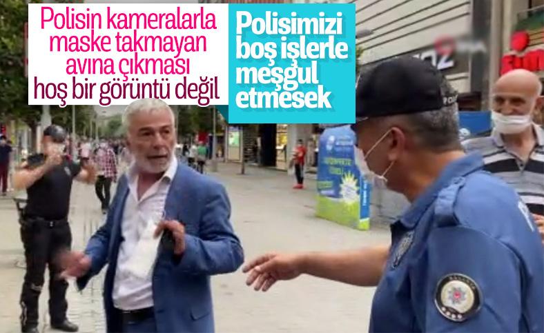 Sakarya'da maske uyarısı yapan polislere tepki gösterdi