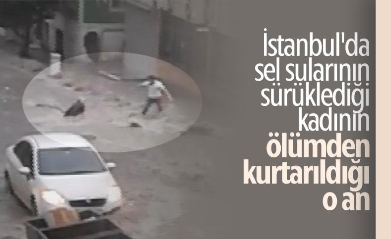 İstanbul'da suya kapılan kadının kurtarılma anı