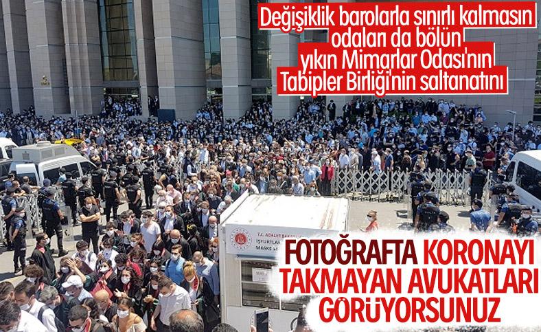 İstanbul Adalet Sarayı önünde avukatların eylemi