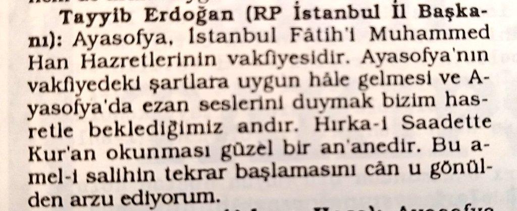 Erdoğan'ın 26 yıl önceki  Ayasofya demeci ortaya çıktı #2
