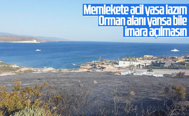 İzmir'deki orman yangınında zarar gören alan soğutuluyor