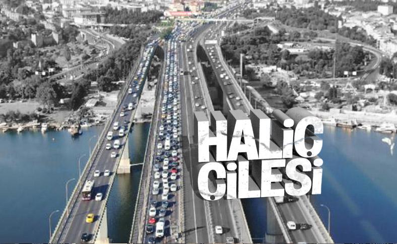 Haliç'te haftanın ilk iş gününde trafik yoğunluğu