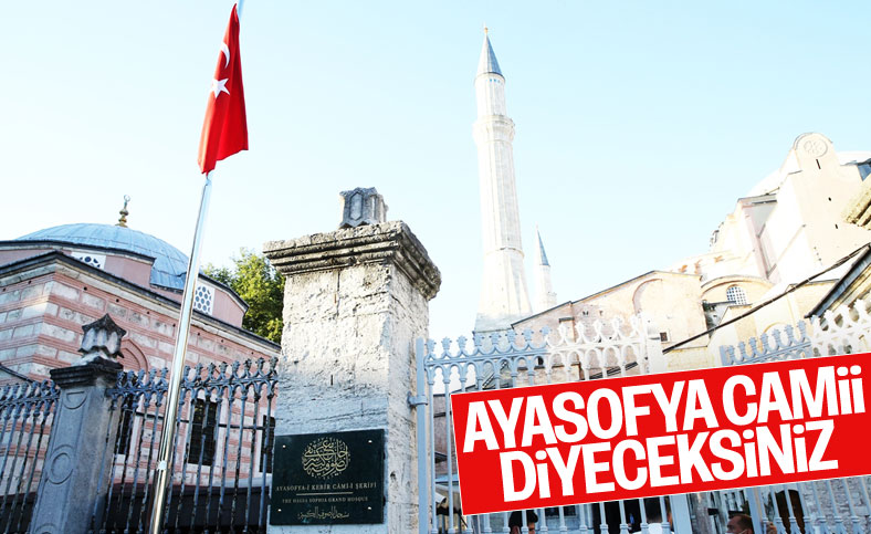 Erdoğan, Ayasofya Camii'nin tabelasını açtı