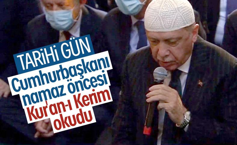 Cumhurbaşkanı Erdoğan, cuma öncesi Kur'an tilaveti verdi