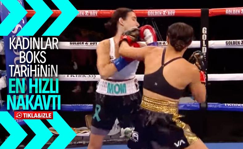 Kadın boksör, rakibini 7 saniyede nakavt etti