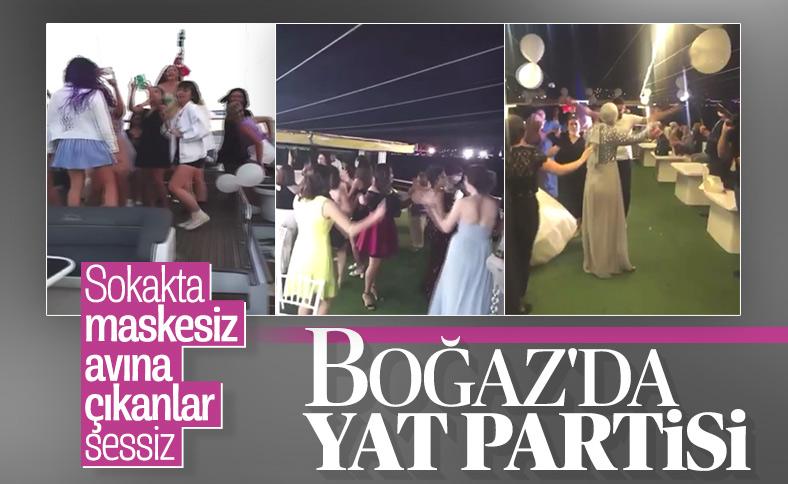 İstanbul Boğazı'nda yatta maskesiz eğlenceye izin