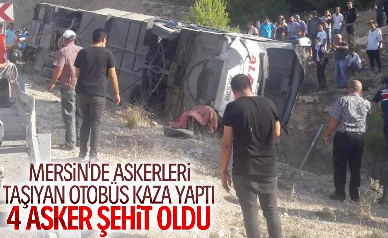 Mersin'de asker taşıyan otobüs devrildi: 4 şehit
