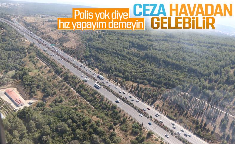 İzmir'de bayram trafiği havadan denetlendi