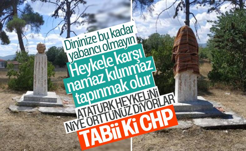 Namaz için Atatürk büstünü örten köylülere CHP'den tepki