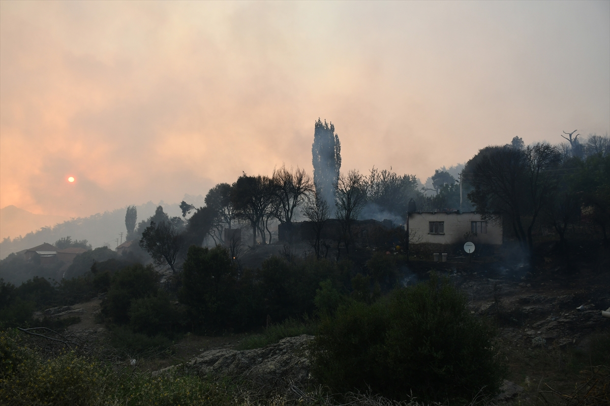 Bir orman yangını Manisa # 6 yerleşim yerlerine ulaştı