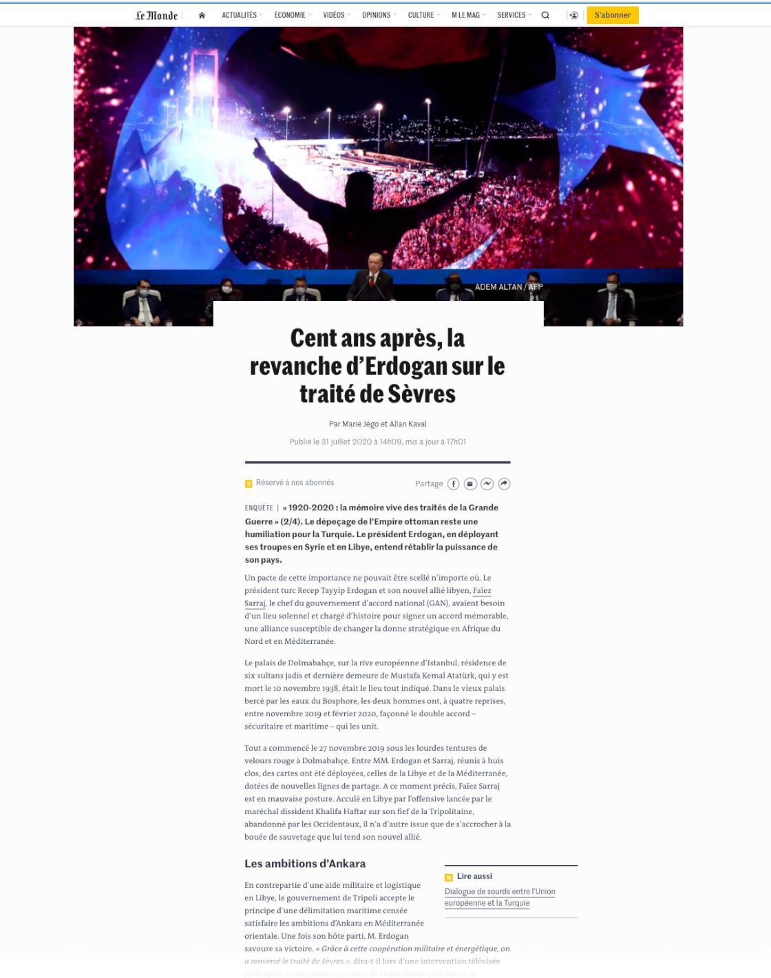 Le Monde Cumhurbaşkanı Erdoğan'ı haberine taşıdı #2