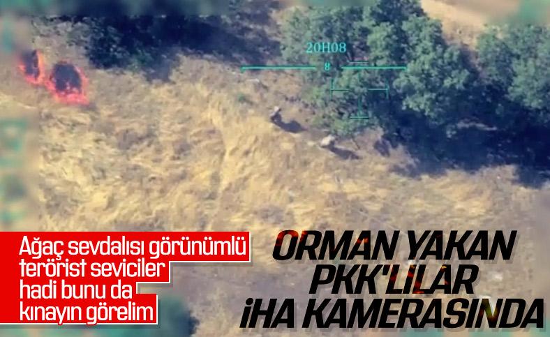 Ormanları ateşe veren PKK'lı teröristler kamerada