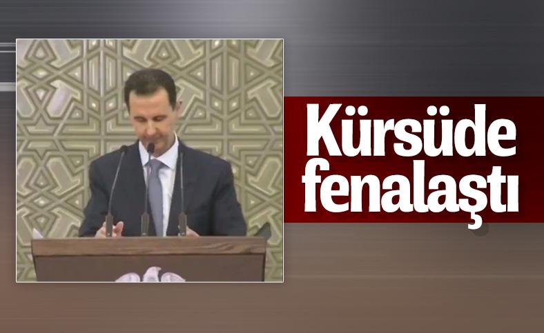 Beşar Esad kürsüde fenalaştı