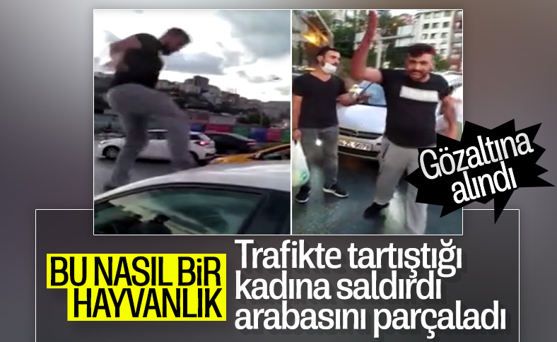 Alibeyköy'de bir kişi trafikte kadına saldırdı