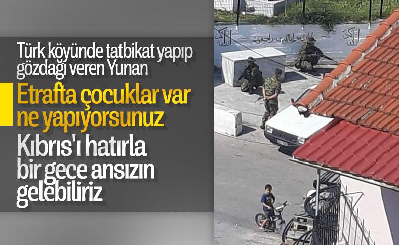 Yunan askerleri Türk köyünde tatbikat yaptı