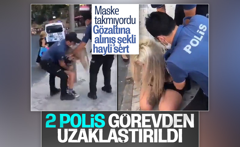 Kadıköy'de maskesiz kadını gözaltına alan polislere uzaklaştırma