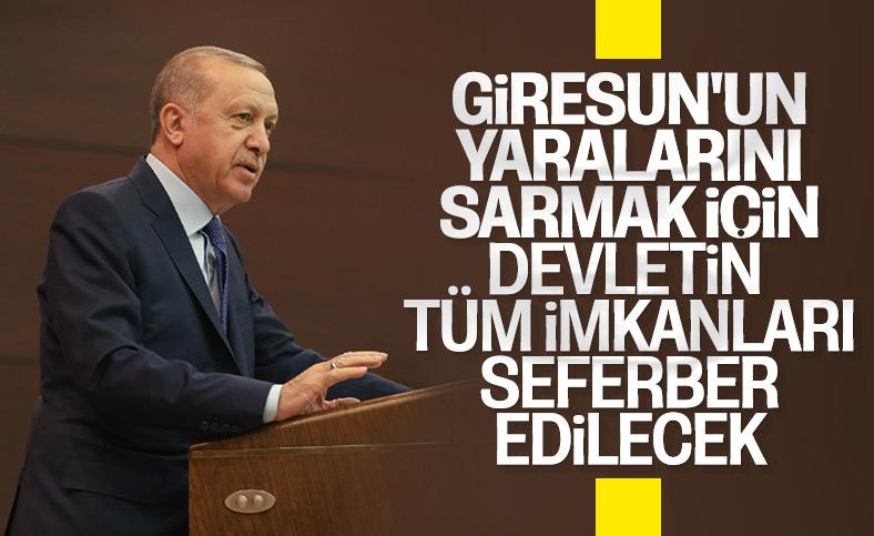 Cumhurbaşkanı Erdoğan'dan Giresun'daki sel sonrası talimat